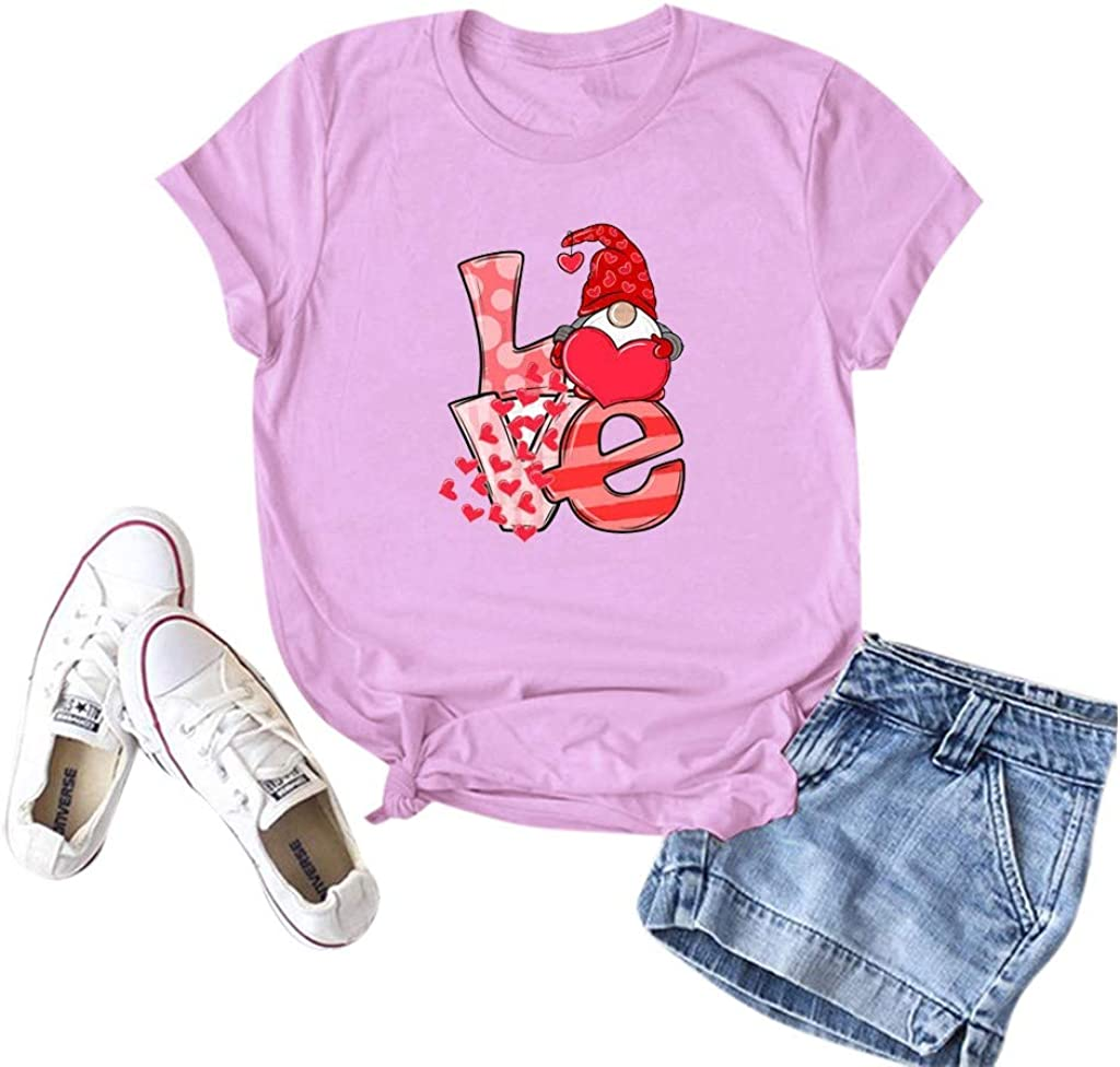 T Shirts for Women, Womens Valentine's Day Crewneck Heart Printed Raglan Long Sleeve Shirts Casual Blouse Basic Tops