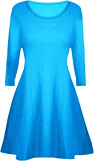 Aelstores Girls Plain Long Sleeves Flare Franki A Line Mini Skater Swing Dress Top Kids Age 5-14 Years