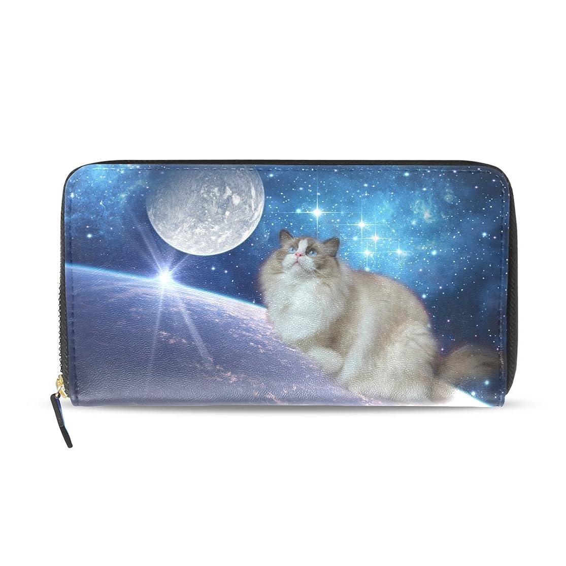 クラスハプニング化学GORIRA(ゴリラ) 眺めるラグドール かわいい猫 星空 長財布 レディース ダブルサイド印刷 ファスナー開閉式 ウォレット