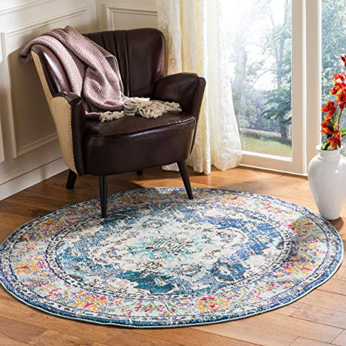 Safavieh Monaco Collection MNC243N Bohemian Chic Medallion Distressed Area Rug, 3' Round, Navy/Light...