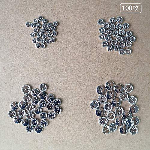 Wfeiyanton ボタン ミニチュア メタル ボタン 2穴ボタン DIYアクセサリー 手芸用品 ドールメイキング パーツ ミニボタン ぬいぐるみのため ドール服 縫製材料 (シルバー)