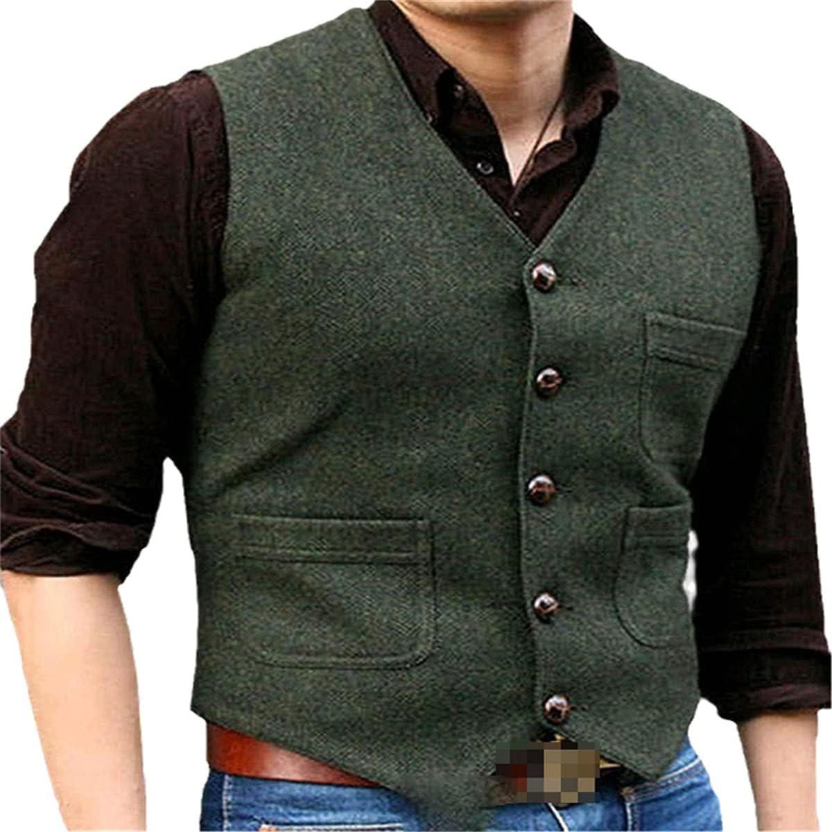 Men's vest tweed suit business vest steampunk vest jacket brown black Victorian style