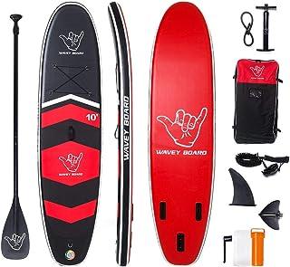 WAVEY BOARD 充气站立桨板 15.24 厘米厚 SUP 板 PVC 带可调节桨肩背包泵和底部脚蹼适用于所有技能水平青少年和成人冲浪板双层