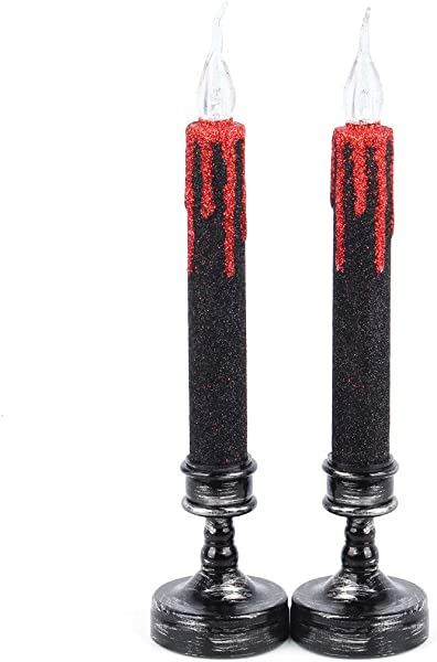 NICROLANDEE Halloween Flameless Candles Led Blood Dripping Taper Candle Holders Gold Glitter Candlesticks Amber Warm Yellow Flickering For Halloween Decorations 2PCS