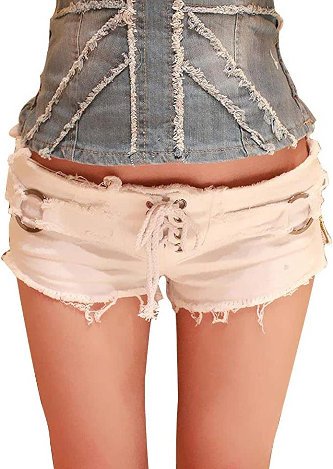 Women Cut Off Low Waist Denim Jeans Shorts Mini Hot Pants Bandage Punk Shorts