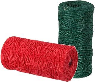 2x DIY Juteschnur Bastelschnur Bindfaden Paketschnur Dekokordel, Grün und Rot