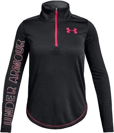 Under Armour Tech 1//2 Zip Kids Girls Long Sleeve Fitness Training Shirt Pink