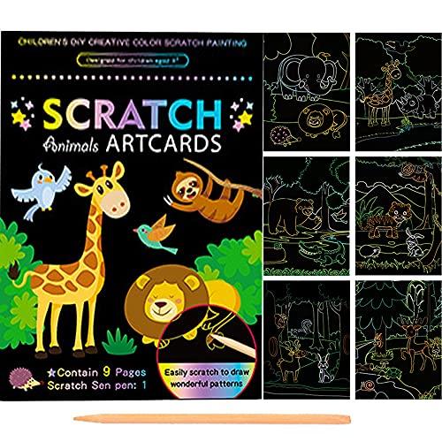 Scratch Dibujar Art para Niños,9 Hojas Doble Cara Animal Multicolor Model Rascar Cuaderno,Magicos Dibujar Coloring Juegos Manualidades kit,para Pascua Halloween Navidad Fiesta Cumpleaños Regalo