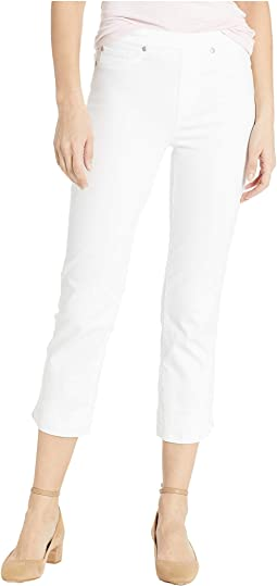 Soft Touch Denim Pull-On Capris w/ Side Slit in White