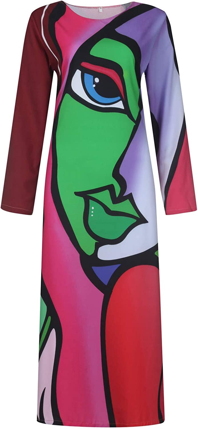 aihihe Womens Abstract Printing Maxi Dresses Plus Size Casual Loose Long Sleeve Crewneck Dress with Pockets