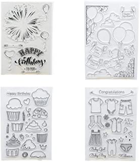 Welcome to Joyful Home 4pcs/Set Happy Birthday Rubber Clear Stamp for Card Making Decoration and Scrapbooking