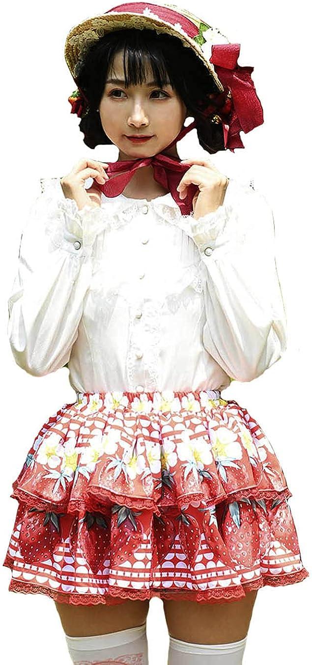 Red Lace Sweet Lolita SK Strawberry Flowers Print Lolita Mini Skirts