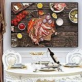 ganlanshu Quadro Senza Cornice Cereali e spezie Carne e Verdure Cucina Poster e Stampe su Tela Wall ArtCGQ6634 50X75cm