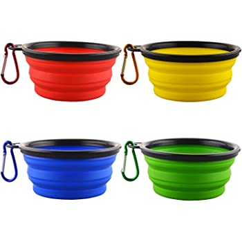 Kathy Large Collapsible Dog Bowls, 2 Pack Portable Foldable Cup Water Bowls with Carabiner Clip for Travel for Pet Cat Food Feeding