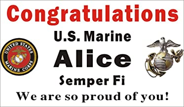 Alice Graphics 3ftX5ft Custom Personalized Congratulations U.S. (US) Marine Corps (USMC) Boot Camp Graduation Banner Sign