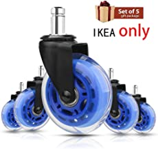 8T8 Replacement Plug in Stem Caster Wheels 3'' IKEA, Fit IKEA Chairs Only,Heavy Duty 10X22mm Inserted Stem Wheels,Safe for Hardwood Tile Carpet Floors,No Floor Mat Needed (Set of 5,Blue)