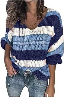 HebeTop Women's V Neck Long Sleeve Striped Knitted V Neck Chunky Pullover Sweater