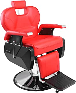 Goujxcy Hydraulic Reclining Salon Barber Chair Heavy Duty Barber Salon Spa Equipment with 360 Swivel Deluxe and Hydraulic Pump for Shampoo Facial Massage (Red)