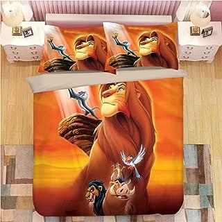 ZI TENG 3D The Lion King Duvet Cover Set Children Cartoon Film Theme Bedding Set Kids Boys Girs and Teenagers Bed Set 3PC 1 Duvet Cover,2Pillowcases,Twin Full Queen King Size
