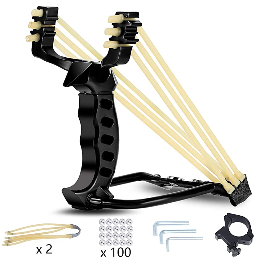 Elfirly Professional Wrist Rocket Slingshot Powerful Outdoor Hunting Sling Shot Accurate Shooting High Velocity Catapult with 2 Heavy Duty Launching Rubber Bands and 100 Slingshot Ammo
