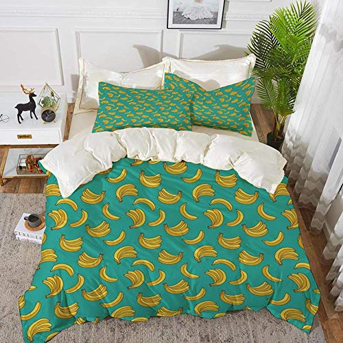 161 Yellow and Blue,Tropical Bananas Pattern in Vivid Tones Exotic Style Palm Summer Graphi,Hypoallergenic Microfibre Duvet Cover Set 230 x 220cm with 2 Pillowcase 50 X 80cm