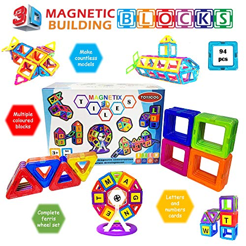 TOYSCOG 94 pieces magnetic build...
