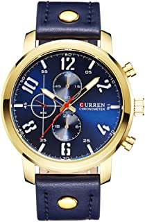 Curren Casual Men's Watch Blue Leather
