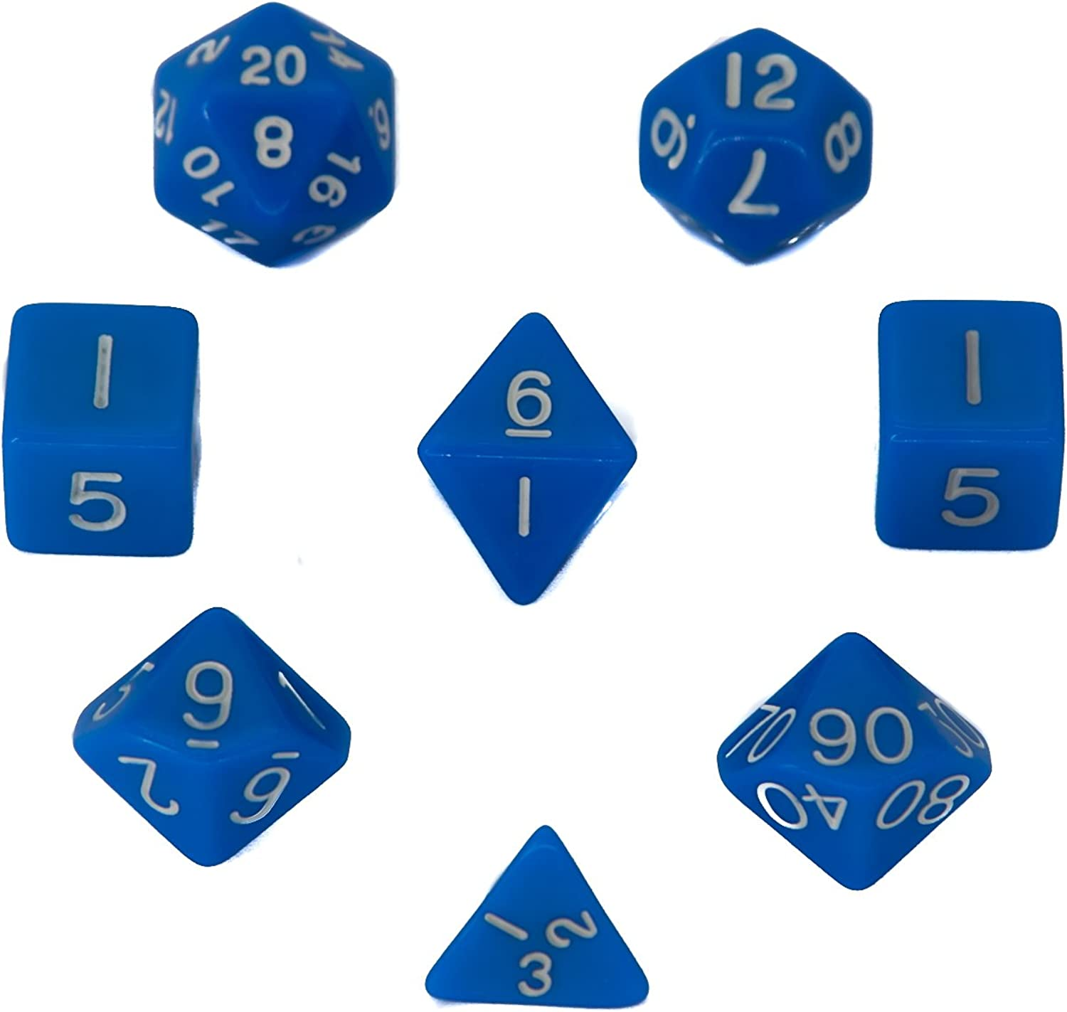 7 + 1 Polyhedral Dice Set - bluee - Opaque - For RPG, Roleplaying Games - D4, D6, D8, D10, D12, D20 Sided Dices with Velvet Bag - By Aras.Games