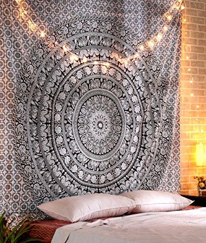 Tapiz Grande - Decoración de Pared de Tapicería Hippie de Algodón puro Decoración Habitación de Boho de Gran Elefante Decorativa - Blanco y Negro - 228 x 274 cm