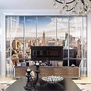 Wallpaper 3D stereo latest window New York City landscape wall mural Office living room decoration wallpaper-200cm(W) x200...