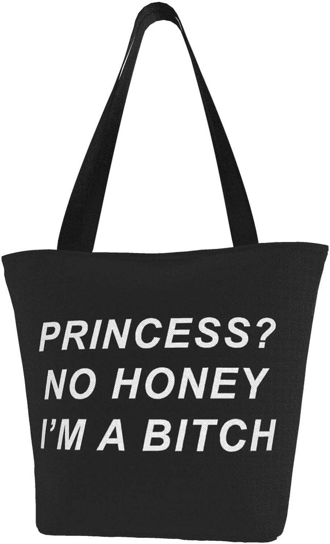 Funny Font I'M A Bitch Themed Printed Women Canvas Handbag Zipper Shoulder Bag Work Booksbag Tote Purse Leisure Hobo Bag For Shopping