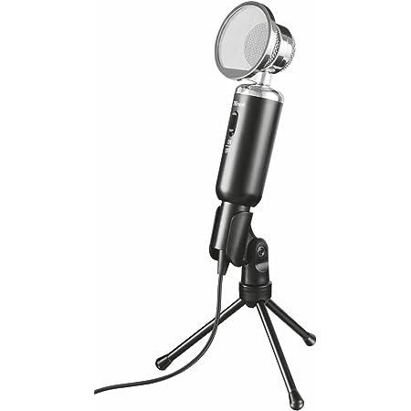 Trust Madell Microfono da Tavolo, Estetica Vintage, su Treppiede, Nero