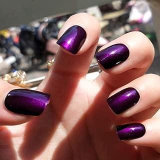 Sethexy 24Pcs Glossy Square False Nails Purple Short Full Cover Art Fake Nails Tips for Women and Girls(Dark violet)
