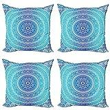 ABAKUHAUS Étnico Set de 4 Fundas para Cojín, La meditación temático, Estampado Digital en Ambos Lados y Cremallera, 40 cm x 40 cm, Azul pálido