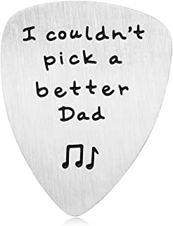 Dad Gift for Father's Day - I Couldn't Pick a Better Dad Guitar Pick, Stainless Steel Inspirational Dad Gifts from Daughter Son, Christmas Birthday Gifts for Dad