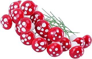 Refaxi® Mini Artificial Foam Mushroom for Flower Plant Pots Garden Decor (20pcs Red)