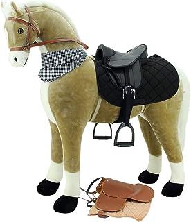 Sweety Toys 13135 XXL Staande paard Goldie beige met witte manen en staart/zwarte halsdoek - standpaard- paardpaard met tw...