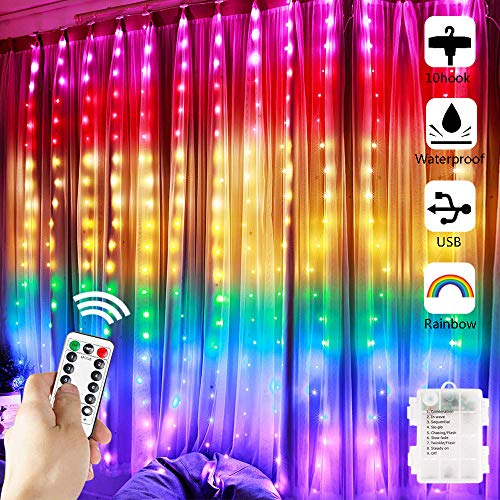Greenke Curtain String Lights, Rainbow Fairy Lights with Remote 8 Modes LED Twinkle Lights for Christmas, Party, Wedding, Bedroom Wall Decoration (7-Color) Upgraded with Battery Case&USB