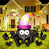 Rocinha Halloween Inflatable Gaint Animated Spider with Witch Hat, Blow up Halloween Decorations with Build-in LEDs for Yard, Large Indoor Outdoor Halloween Inflatables for Garden Decor, 4.6ft
