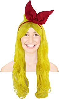 Dragon Ball Z Launch Wig with Red Bow Set | Yellow TV/Movie Breathable Capless Designed Wigs