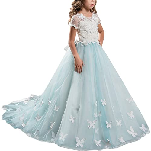 8226a235e77 Flower Girls First Communion Dress Lace Applique Embroidered Kids Princess  Wedding Bridesmaid Floor Length Layered Puffy