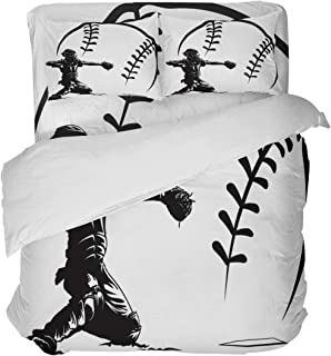 LnimioAOX Juego de Funda nórdica de 3 Piezas de Silueta Negra de béisbol Catcher con 2 Fundas de Almohada Decorativas, Colcha Deportiva