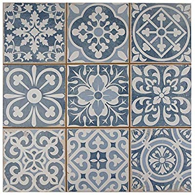 "SomerTile FPEFAEA Romania Ceramic Floor and Wall Tile, 13"" x 13"", Blue"