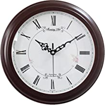 "Decorative Analog Wall Clock Silent Battery Operated Modern Quartz Round Wall Clock Simple for Home, Office, Bedroom, 10"", Roman Numerals, White, Brown Frame"