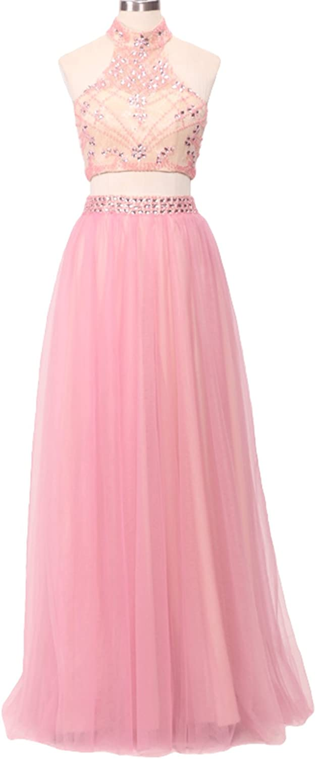 CIRCLEWLD Beading High Neck Prom Dresses Two Piece Tulle Long Formal Gowns Women Juniors P41