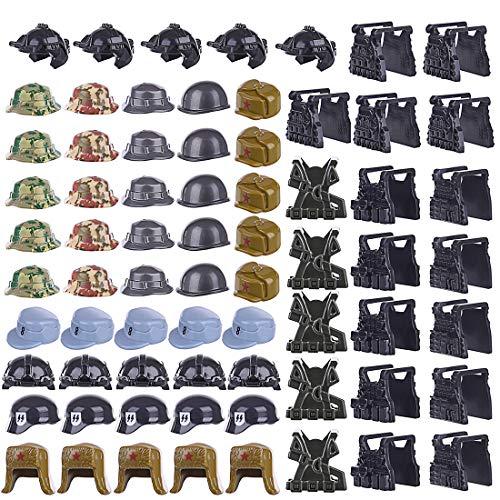 FutureShapers 70pcs. Casco Personalizado, Chaleco de choza para los Soldados de la policía SWAT Team Mini Figuras, Coinciden con el Lego
