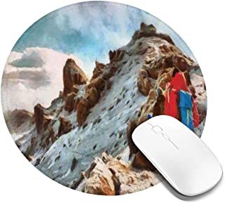 Round Mouse Pad,Group of Trekkers Hiking Among Snows of Kilimanjaro in Winter in Painting Style,Non-Slip Gaming Mouse Mat,4 PCS