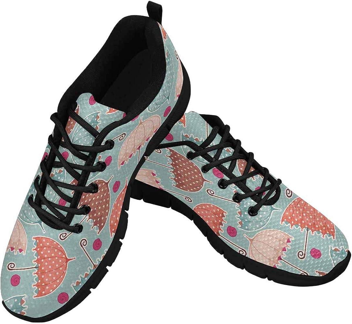 INTERESTPRINT Umbrellas Pattern Women's Athletic Walking Running Sneakers Comfortable Lightweight Shoes
