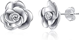 LUHE Rose Stud Earrings,Rose Pendant Necklace,Rose Bracelet, Rose Adjustable Rings,Sterling Silver 3D Rose Flower Jewelry Gifts,Romantic Gifts for Women Girls Her