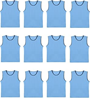 DreamHigh DH Soccer Sports Team Practice Pinnies Training Mesh Vests Youth -12 Pcs Pack